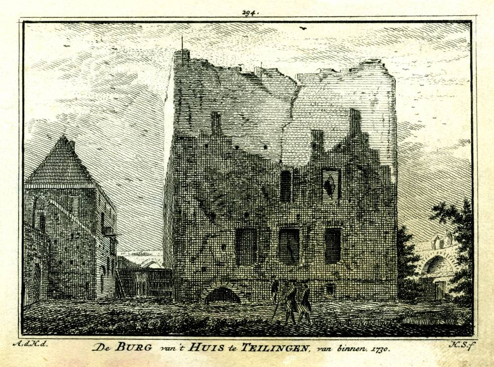 Ru�ne Teylingen in Sassenheim. Tekening Abraham de Haen, gravure Hendrik Spilman(Uit: Het Verheerlykt Nederland, Isaac Tirion, 1745/1774)